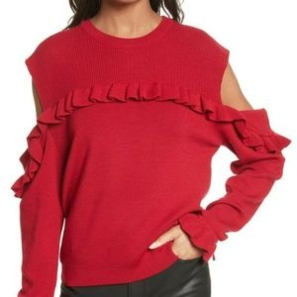 The Kooples Sweaters - The kooples BNWT red cold shoulder ruffles